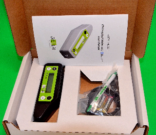 Content of the box: atLEAF CHL BLUE chlorophyll meter, USB cable, batteries,  user manual