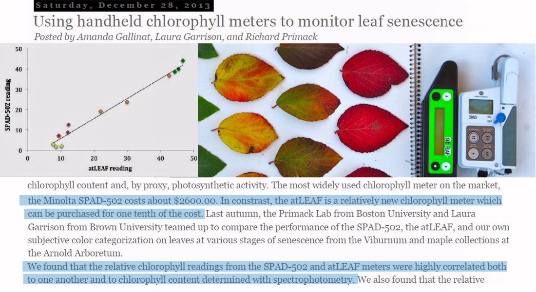 atLEAF vs SPAD : Using handheld chlorophyll meters to monitor leaf senescence